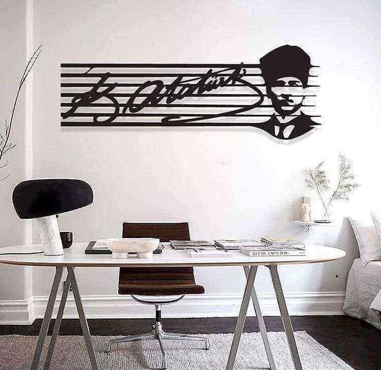 Mustafa Kemal Atatürk İmza ve Silüet 3D Mdf Tablo Evinize Ofisinize