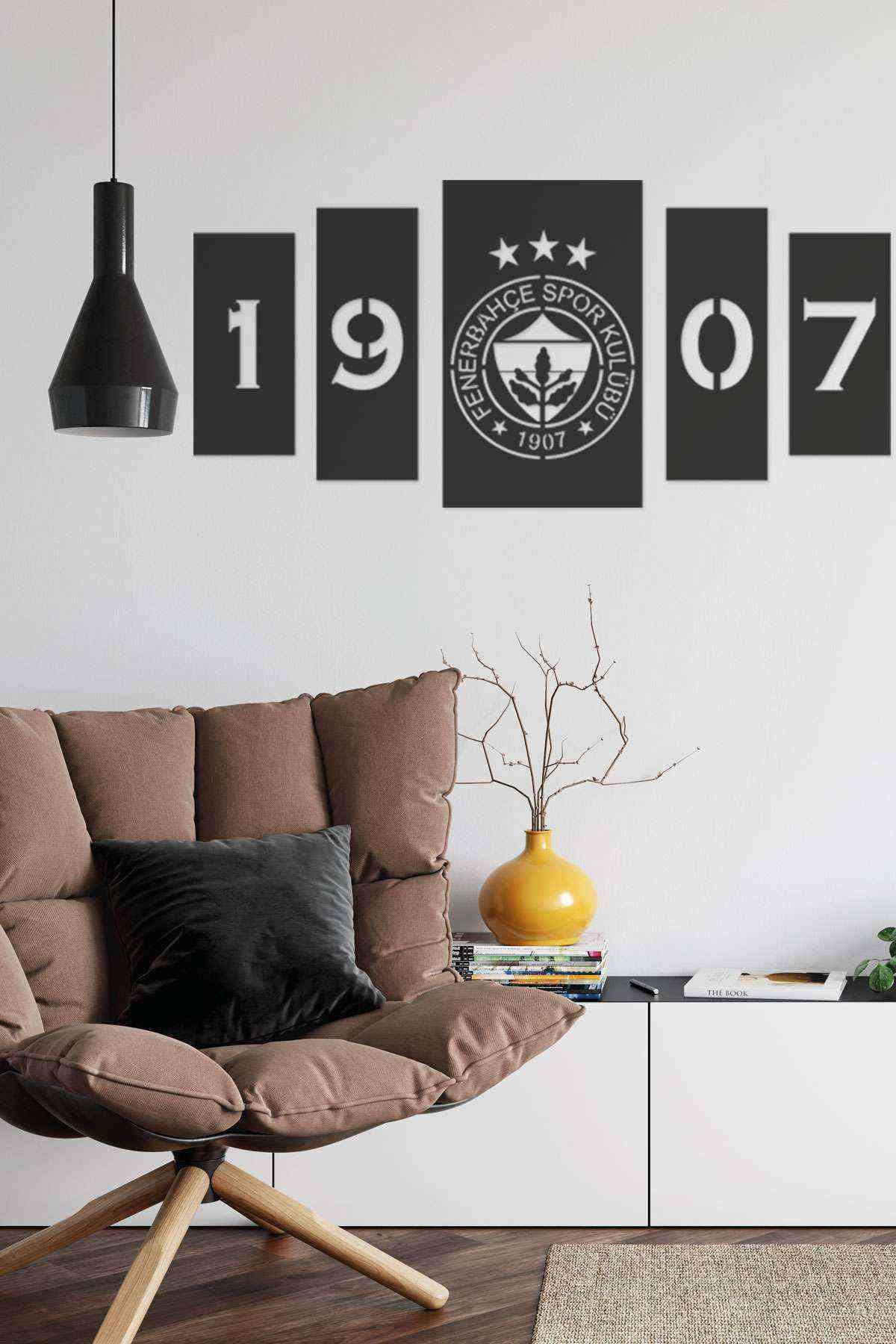 Fenerbahçe 5 li Duvar Dekoru Tablosu Siyah Ahşap Lazer Mdf