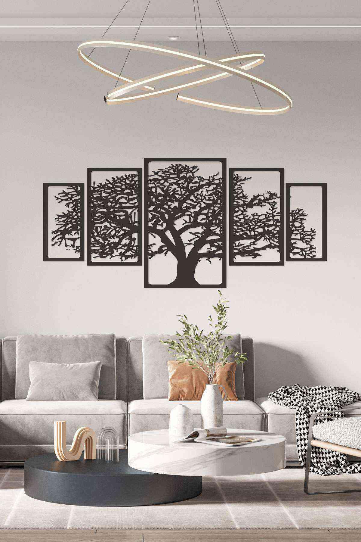 Hayat Ağacı 150 cm Duvar Dekoru Tablosu Siyah Ahşap Lazer Mdf