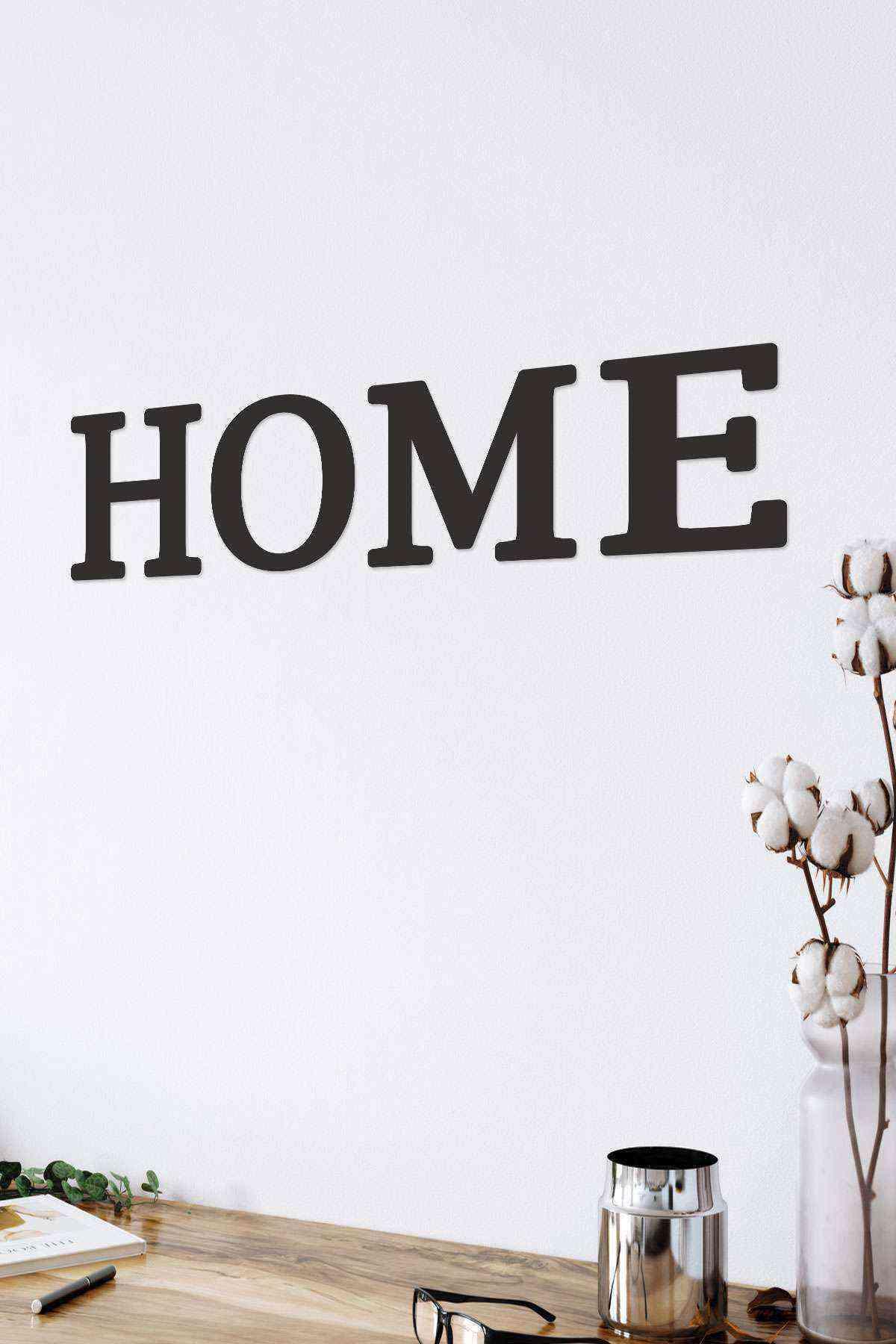 Home Yazısı 4 lü Duvar Dekoru Tablo Siyah Ahşap Mdf