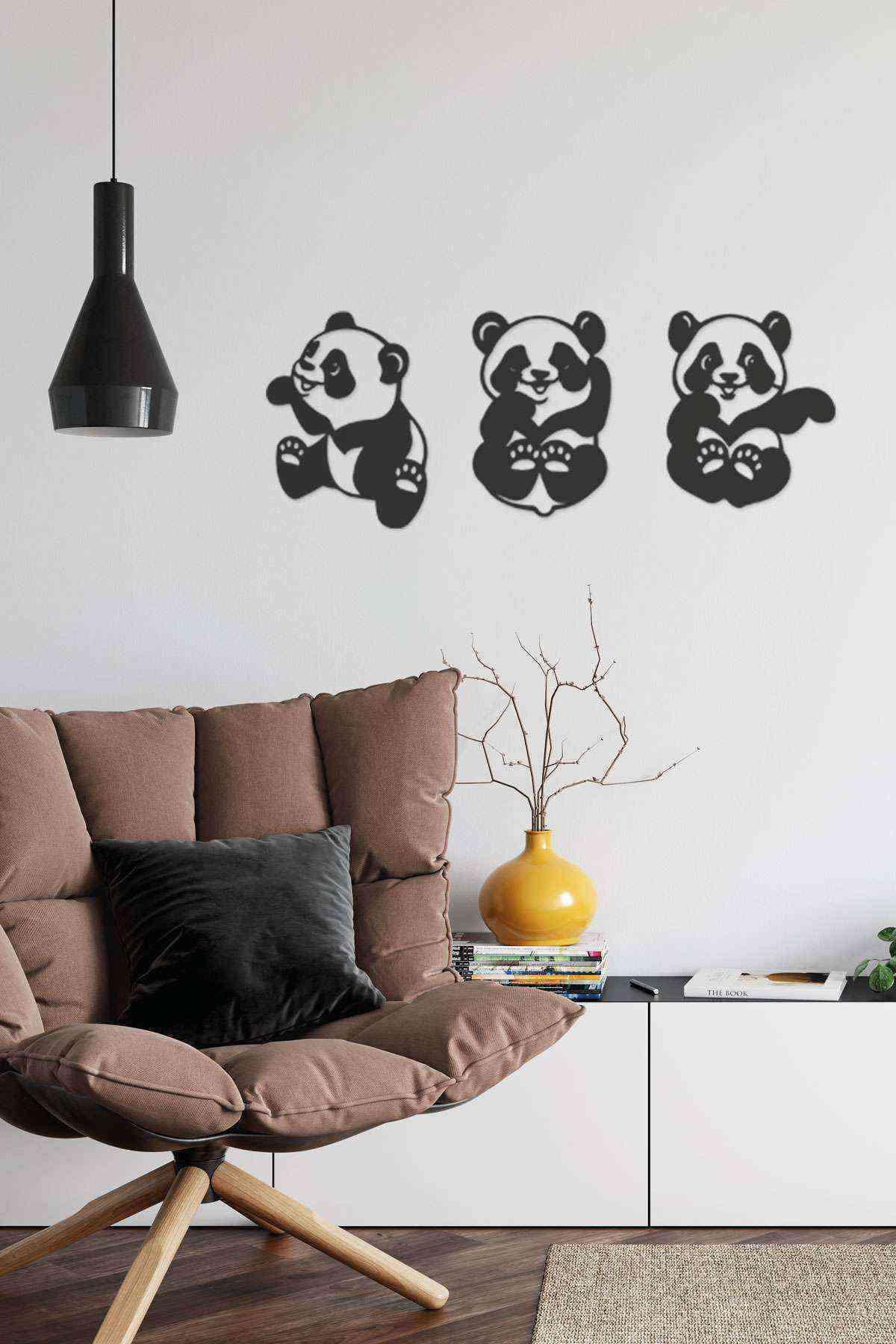3lü Panda Yeni Duvar Dekoru Tablo Siyah Ahşap Mdf