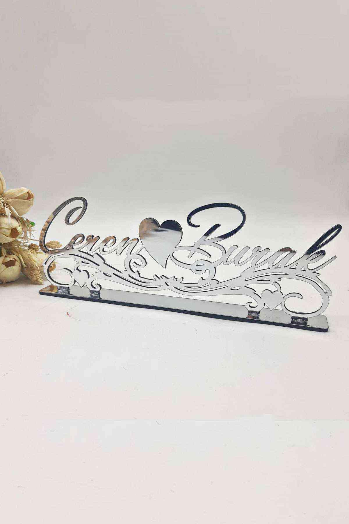 40x15 Cm Masaüstü Pleksi Isimlik Söz Nişan Kına Düğün Gümüş