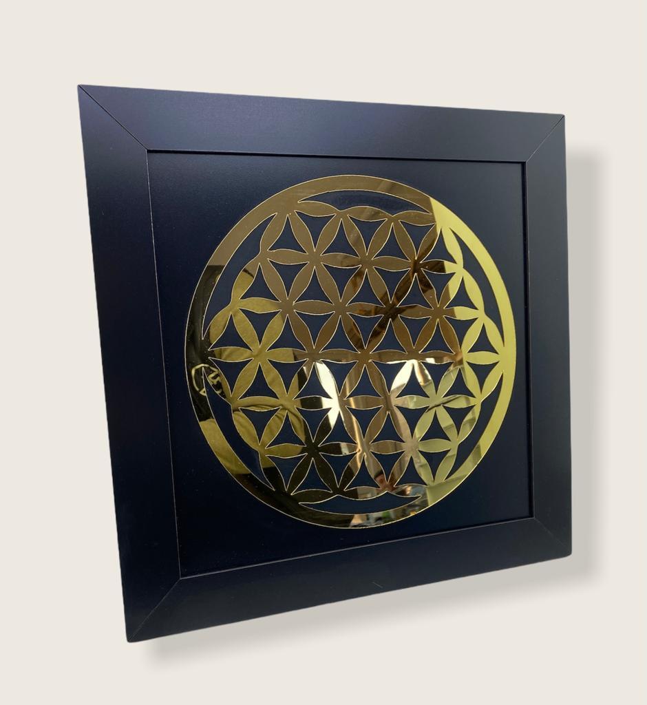 Yaşam Çiçeği Çerçeveli Aynalı Duvar Tablosu Siyah Ahşap Lazer Mdf